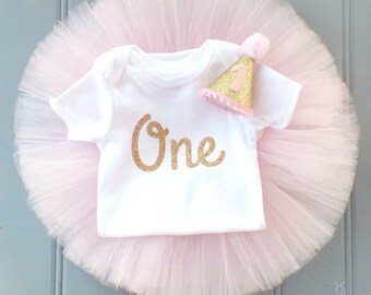 Pink and Gold First Birthday Outfit Girl, 1st Birthday Outfit, First Birthday Outfit, Cake Smash Outfit, 1st Birthday Tutu Outfit Pink Tutu