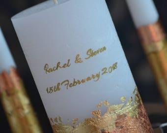 Wedding Candle Set, Personalized Wedding Unity Candle, Custom wedding candles, Gold Wedding Candle, Rose Gold Unity Candle Set, Wedding Gift
