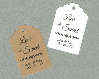 Wedding Tags, Printed Tags, Set of 50, Wedding Shower Tags, Tags, Wedding Favor, Love is Sweet
