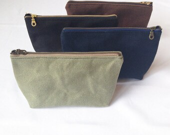 Hemp Canvas Pouch. Waxed Canvas Water Resistant Makeup Bag. Organic Make Up Bag. Cosmetic Zipper Clutch. Zip Makeup Pouch.