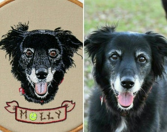 Custom Pet Portrait Embroidery- A Custom Dog Portrait, Cat Portrait etc, ideal for a Pets Memorial or Pet Loss Gift. Made to Order in the UK