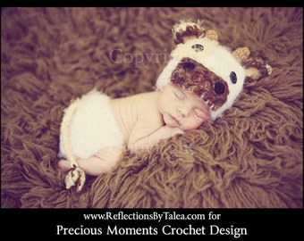 Baby Cow Hat and Diaper Cover, Newborn Cow Hat and Diaper Cover, Newborn PHOTO PROP, Cow Hat, Crochet Cow Hat, White Brown Cow, Newborn Hat
