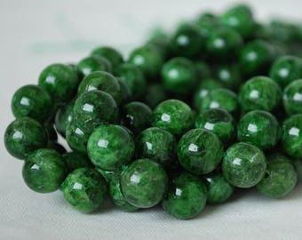 """High Quality Grade A Natural Russian Green Chrome Diopside Semi-precious Gemstone Round Beads - 4mm, 6mm, 8mm, 10mm sizes - 16"""" strand"""