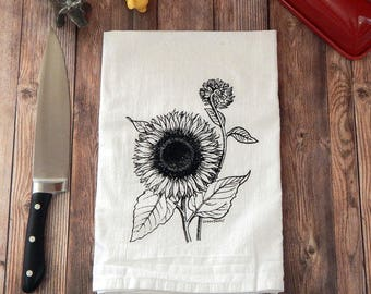 Sunflower Tea Towel,  Flour Sack Tea Towel, Floral Kitchen Towel