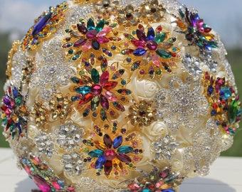 rainbow bouquet, rainbow brooch bouquet, multi colored bouquet, brooch bouquet, brooch bouquets, jewelry bouquets, bridal bouquets