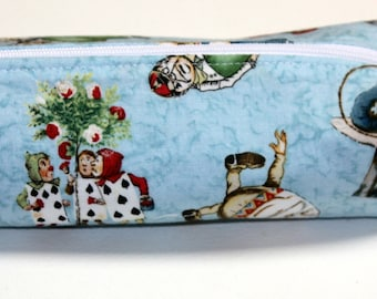 Alice in Wonderland Pencil Case, Boxed Pencil Tote, Boxed zipper pouch, Make-up Bag, Back to School.
