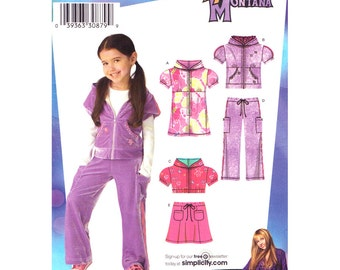 Girls Hoodie Mini Dress, Top, Skirt, Pants Pattern Simplicity 3714 Casual Wear Hannah Montana Girls Sewing Pattern Size 3 to 8 UNCUT