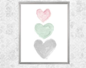 Pink, Mint and Gray Nursery, Pink and Mint Nursery Art, 8x10 Watercolor Print, Mint Decor, Pastel Nursery, Watercolor Nursery, Pastel Baby