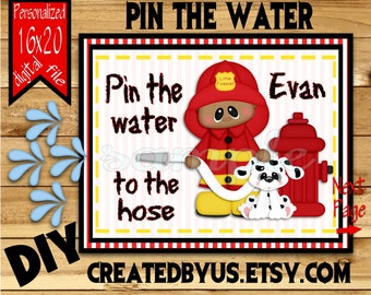 Little Fireman Firefighter Birthday party Fire fighter Birthday Game idea Pin the Tail DIY 16x20 Printable game poster Download Custom AA