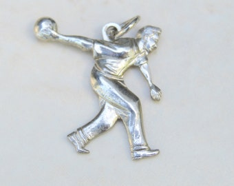 Vintage Bowler Sterling Charm . Charm Bracelet Charm . Pendant