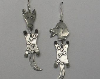Sterling silver dog head earrings