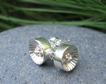Small Tennessee Coneflower Silver Stud Earrings