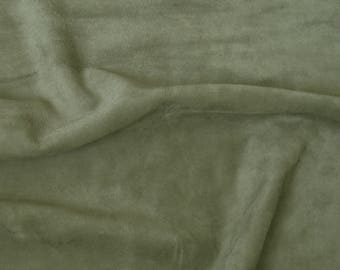 khaki suede piece - genuine real leather scrap - italian quality cow leather (P-6)