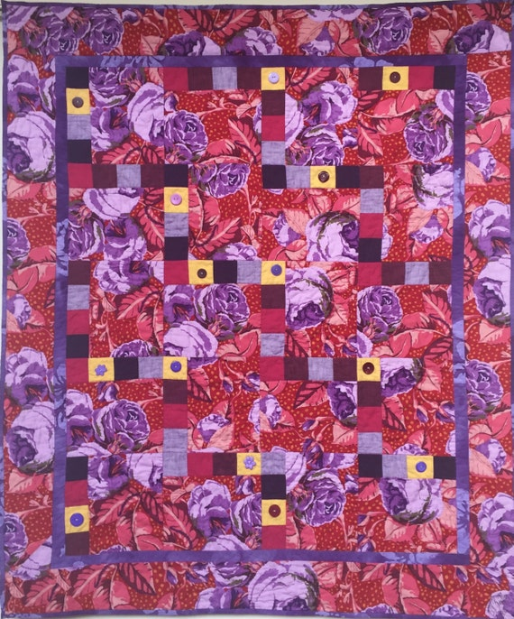 Feeling Fat? Give Yourself Big Purple Flowers art quilt