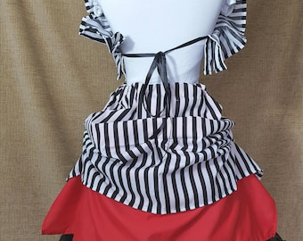 Black White Stripe Two Layer Red Knee Length Tie On Bustle Skirt-One Size Fits All