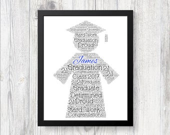 PERSONALISED Graduation Gown Celebration Word Art Print Keep Sake Gift College or University School Present