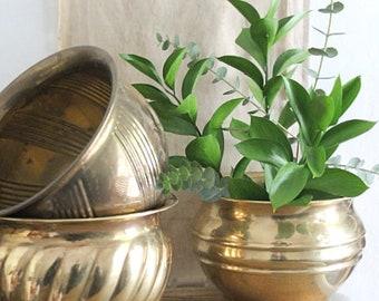 Vintage Banded Brass Planter