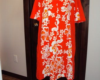 1960s-70s Womens Orange/White Floral Print 100% Cotton Sears Hawaii Mumu/ Shift Dress/ Swimsuit Cover/Maternity Shift Dress Size Large