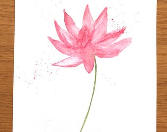 Lotus flower, original watercolour painting,Pink flower art, pink flower artwork, floral painting, gift for mum, one of kind, 7 x 10