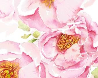 Peonies in Bloom Print, Wall Art