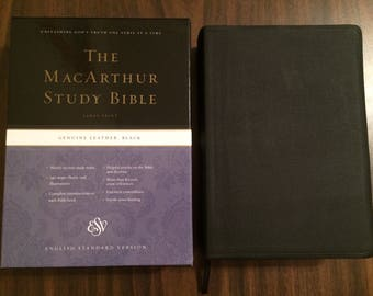 PERSONALIZED ** ESV Large Print Macarthur Study Bible - Black Genuine Leather ** Custom Imprinted