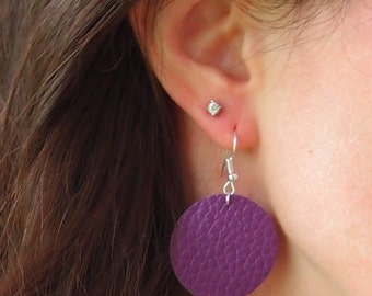 Colorful Genuine Leather earrings~Very Lightweight!~Blue Green Purple Red Olive