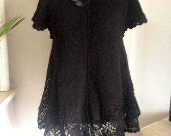 Dress - black toned hand knitted