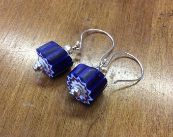 Blue Chevron and Silver Trade Bead Earrings