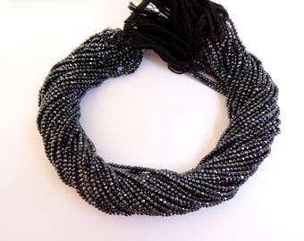 5 Strands Of Black Spinel Mystic Coated  Micro faceted Rondelles, Black Spinel Mystic Coated  Micro faceted Rondelle Beads   (AAA Quality)