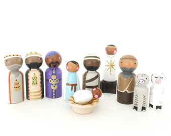 "Peg Doll Nativity Set // 2 3/8"" (and smaller) peg doll wooden nativity set // Christmas Story // black Jesus // Christmas decor tradition"