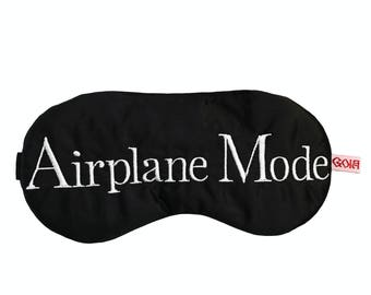 Airplane Mode satin sleep mask with adjustable elastic