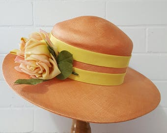 Vintage 1960s 1970s Peach Apricot Orange Straw Wide Brim Summer Hat with Flowers