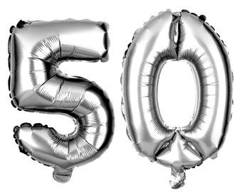 50 Number Balloons, 50th Birthday Party Balloons, 50 Balloon Numbers, 50 Party Supplies, 50th Birthday Decorations, Decor, 40 Inch Silver