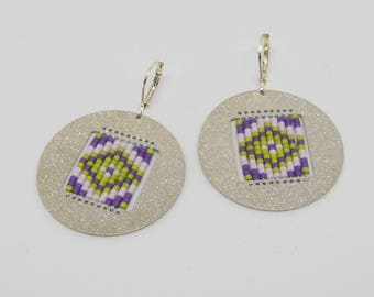 Earrings silver metal Medallion - purple and green tones