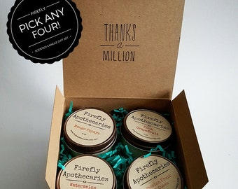 100% Pure Soy Candle Gift Set - Four 4 oz. Jelly jar candles By Firefly & Co.