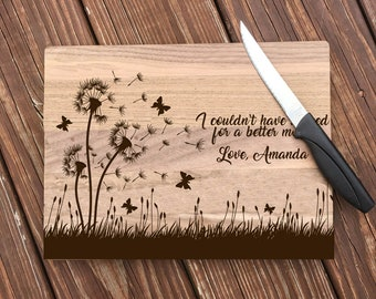 Mothers Day, Personalized, Engraved Cutting Board with Dandelion Design, Custom Cutting Board, From Us, Gift For Mom, Dandelions, Flowers