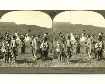 Antique 1900s Stereograph Card: Chief Two-Guns-White Calf and Companions, American Indians– Home Decor Photography Collectable