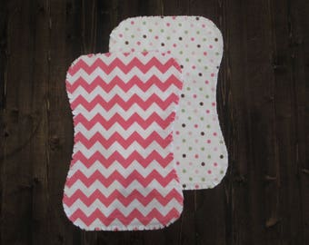 Set of 2, Flannel Ragged Edge Burp Cloth, Contoured, Baby Girl, Pink and White, Chevron, Polka dot, Baby Shower Gift