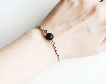 Minimal Single Lava Bead Essential Oil Diffuser Bracelet - Stainless Steel Silver