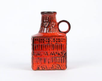 Red BAY West Germany vase  71 17 - West German Pottery - Bodo Mans - relief vase  - vintage mid century modern home decor