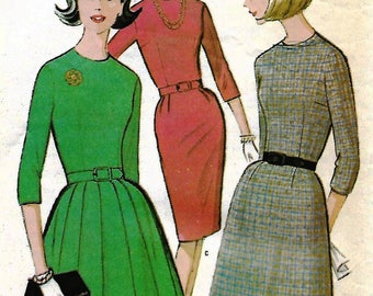 Womens Dress Pattern, McCalls 7443, Misses Size 14, Fitted Bodice, Pleated Skirt, Three Quarter Sleeves, Back Zipper, 1960s Clothing