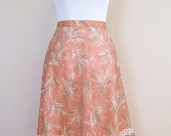 70s Handmade Wheat Print Pink A-Line Tiered Skirt Size Medium