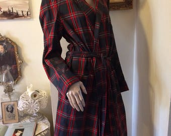 Vintage 40s State O Main Buffalo Blue Red  Plaid Mens Robe Size Medium Holiday Gift for Him