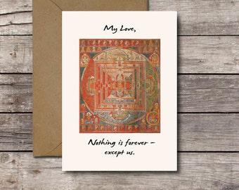 My Love, Nothing is Forever - Except Us / House of Cards Card / Romantic Love Anniversary Cards / Buddhist Sand Mandala / PRINTABLE DOWNLOAD
