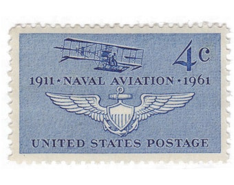 10 Unused Vintage Postage Stamps - 1961 4c Naval Aviation - Item No. 1185