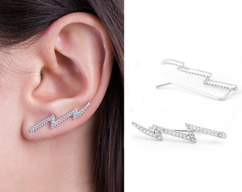 Sterling Silver with Rhodium & Cubic Zirconia Ear Climber