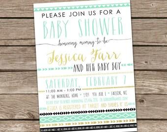 Baby Shower Invitation : Aztec Tribal Invitation, Printable Custom Boy Aztec Tribal Invite, Aztec Baby Shower, Tribal Baby Shower, Boho Baby