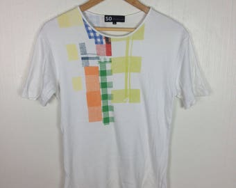 Rare !! SO by Alexander Van Slobbe Fashion Designer White Crew Neck T-Shirt 48 Size