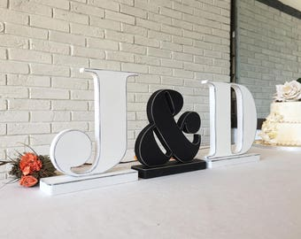 Rustic letters initials in Black & White with distressed edges. Customized wedding letters. Personalized wedding signs. Wooden freestanding
