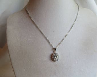 "19 1/2"" Cubic Zirconia Necklace, necklace, cubic zirconia, silver chain"
